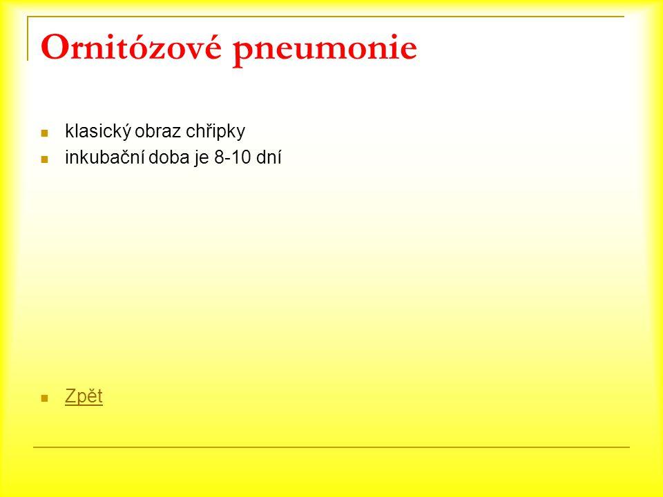 Ornitózové pneumonie klasický obraz chřipky inkubační doba je 8-10 dní Zpět