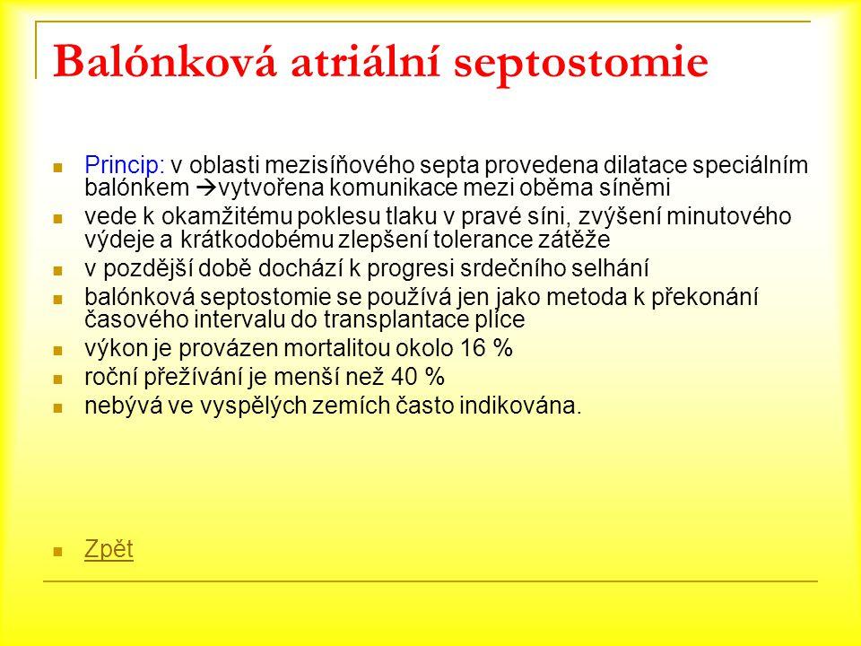 Balónková atriální septostomie Princip: v oblasti mezisíňového septa provedena dilatace speciálním balónkem  vytvořena komunikace mezi oběma síněmi v