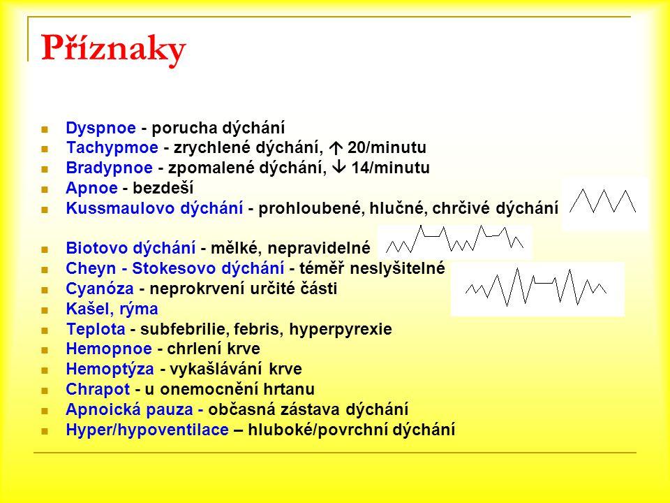 Příznaky Dyspnoe - porucha dýchání Tachypmoe - zrychlené dýchání,  20/minutu Bradypnoe - zpomalené dýchání,  14/minutu Apnoe - bezdeší Kussmaulovo d