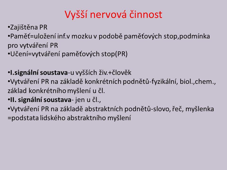 Vyšší nervová činnost Zajištěna PR Paměť=uložení inf.v mozku v podobě paměťových stop,podmínka pro vytváření PR Učení=vytváření paměťových stop(PR) I