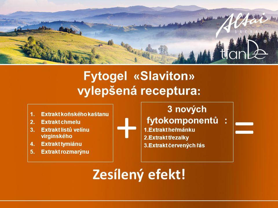 3 nových fytokomponentů : 1.Extrakt heřmánku 2.Extrakt třezalky 3.Extrakt červených řás Fytogel « Slaviton » vylepšená receptura : 1.Extrakt koňského