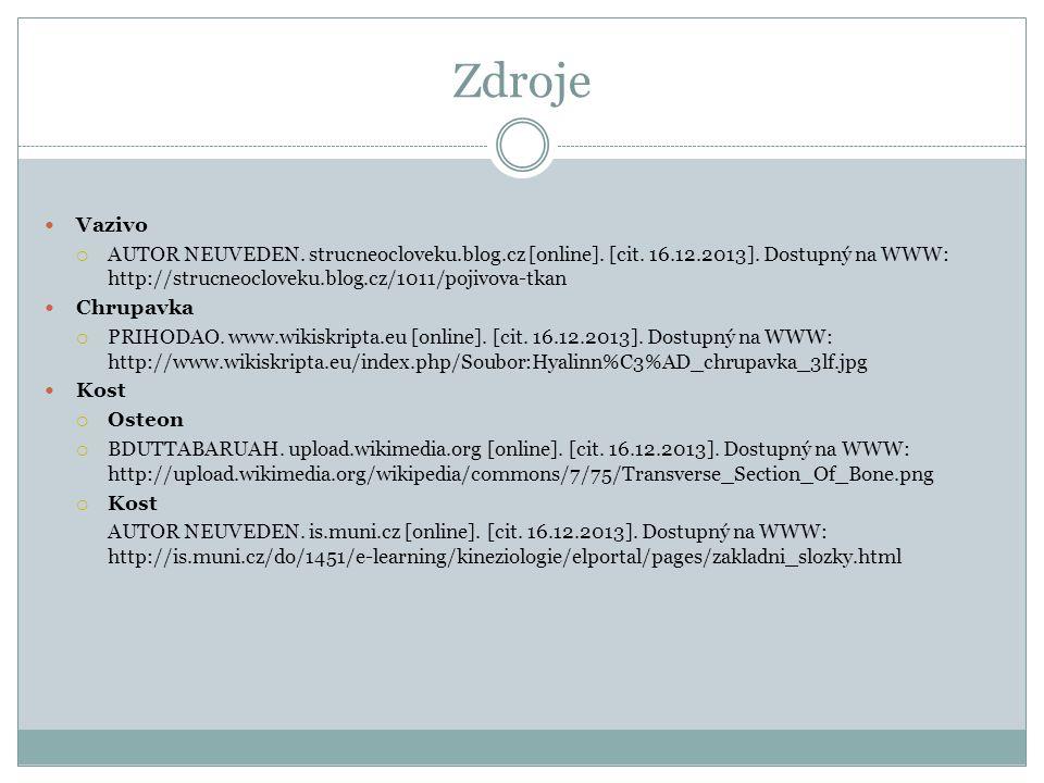 Zdroje Vazivo  AUTOR NEUVEDEN. strucneocloveku.blog.cz [online]. [cit. 16.12.2013]. Dostupný na WWW: http://strucneocloveku.blog.cz/1011/pojivova-tka