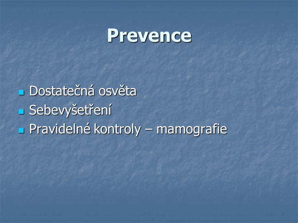 Prevence Dostatečná osvěta Dostatečná osvěta Sebevyšetření Sebevyšetření Pravidelné kontroly – mamografie Pravidelné kontroly – mamografie