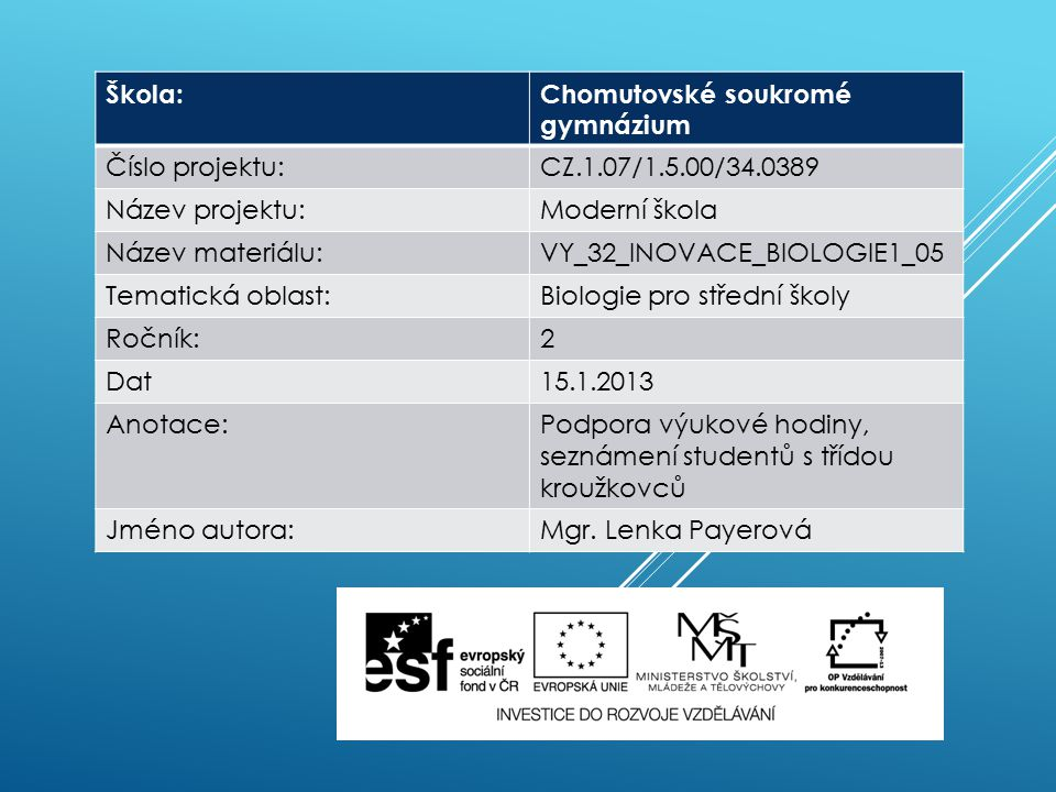Škola:Chomutovské soukromé gymnázium Číslo projektu:CZ.1.07/1.5.00/34.0389 Název projektu:Moderní škola Název materiálu:VY_32_INOVACE_BIOLOGIE1_05 Tem