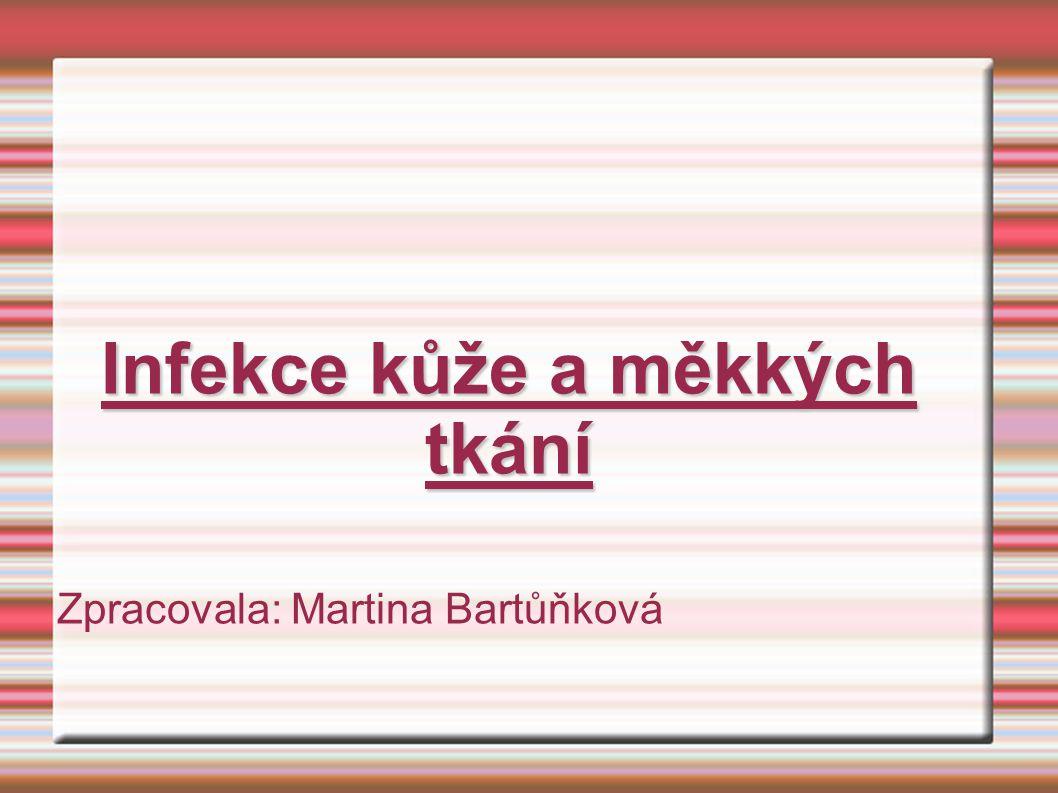 Infekce kůže a měkkých tkání Zpracovala: Martina Bartůňková
