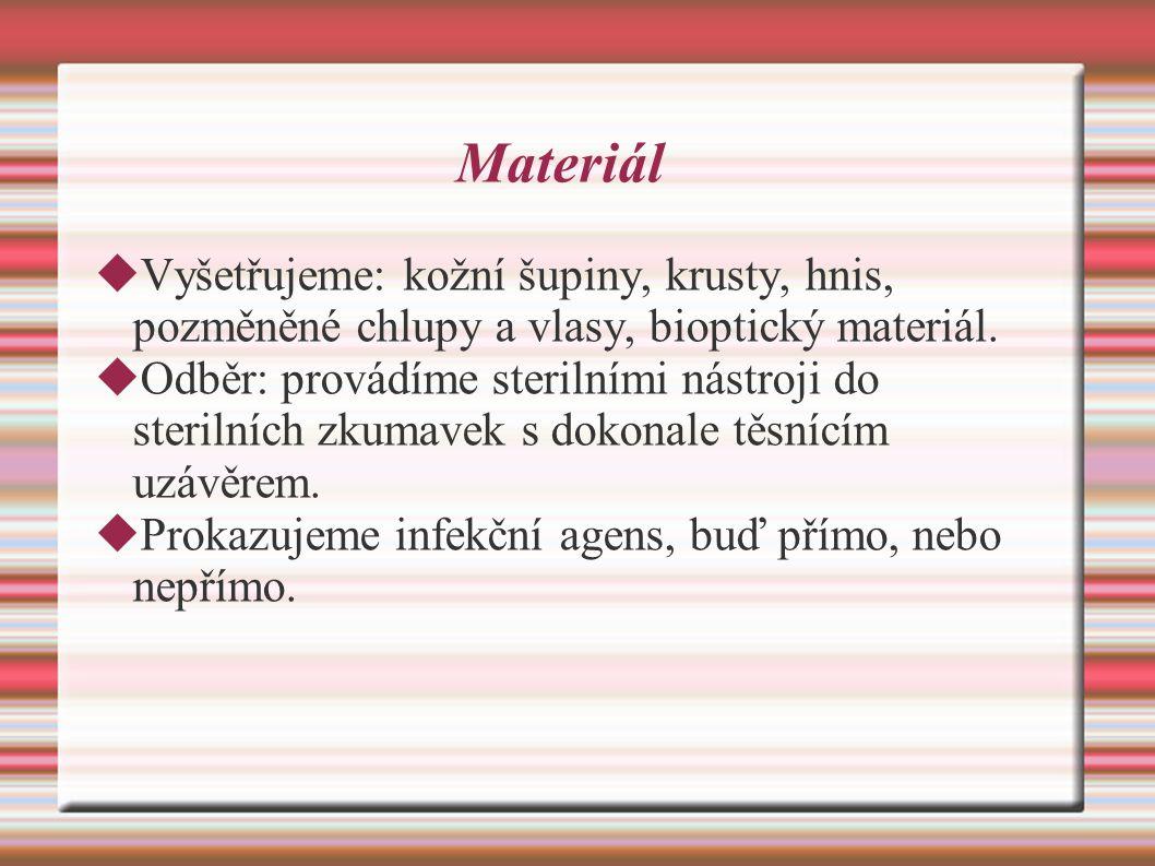 Materiál  Vyšetřujeme: kožní šupiny, krusty, hnis, pozměněné chlupy a vlasy, bioptický materiál.