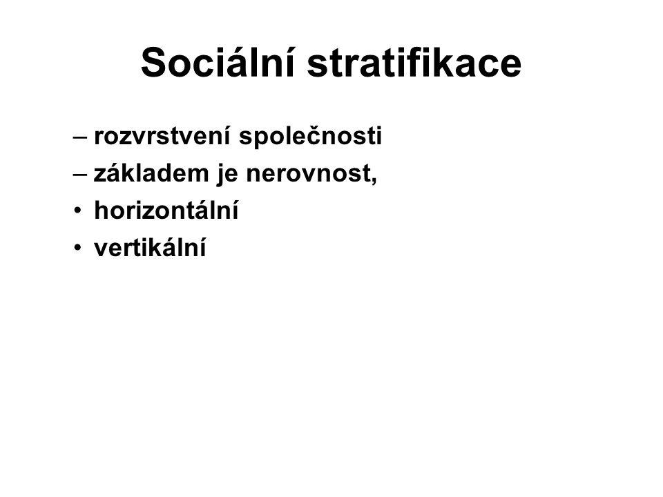 Sociální stratifikace –rozvrstvení společnosti –základem je nerovnost, horizontální vertikální