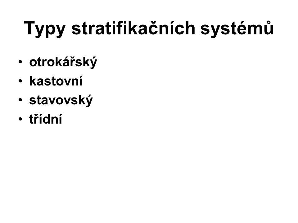 Typy stratifikačních systémů otrokářský kastovní stavovský třídní