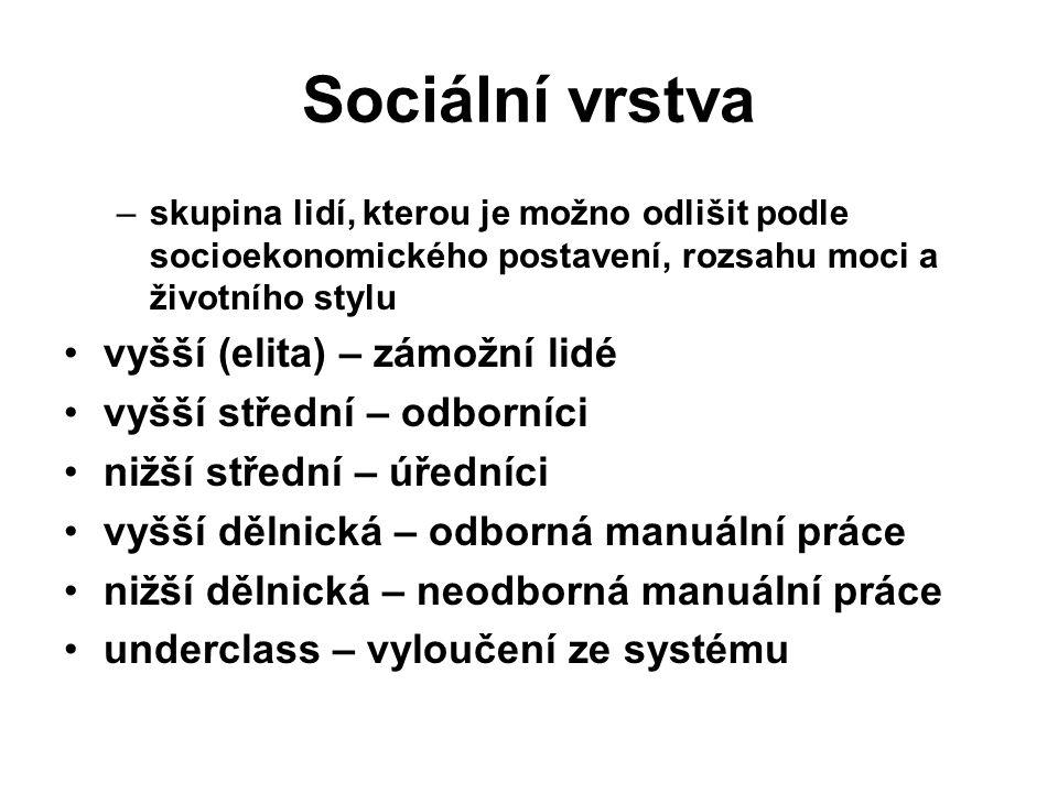 Sociální vrstva –skupina lidí, kterou je možno odlišit podle socioekonomického postavení, rozsahu moci a životního stylu vyšší (elita) – zámožní lidé