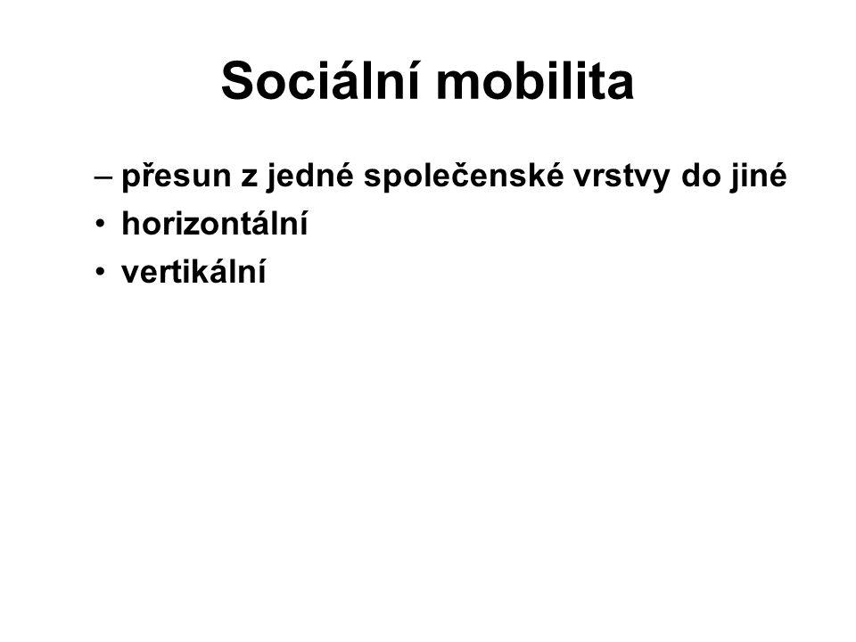 Sociální mobilita –přesun z jedné společenské vrstvy do jiné horizontální vertikální