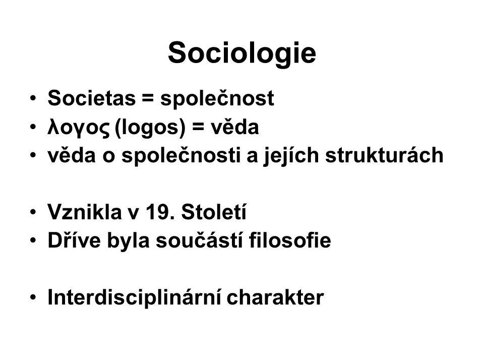 Sociologie Societas = společnost λογος (logos) = věda věda o společnosti a jejích strukturách Vznikla v 19.