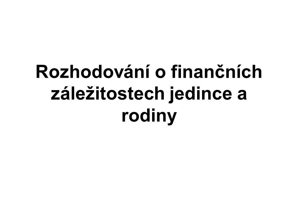Rozhodování o finančních záležitostech jedince a rodiny