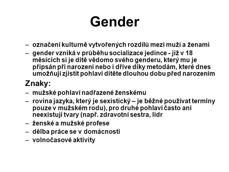 Gender –označení kulturně vytvořených rozdílů mezi muži a ženami –gender vzniká v průběhu socializace jedince - již v 18 měsících si je dítě vědomo svého genderu, který mu je připsán při narození nebo i dříve díky metodám, které dnes umožňují zjistit pohlaví dítěte dlouhou dobu před narozením Znaky: –mužské pohlaví nadřazené ženskému –rovina jazyka, který je sexistický – je běžné používat termíny pouze v mužském rodu), pro druhé pohlaví často ani neexistují tvary (např.