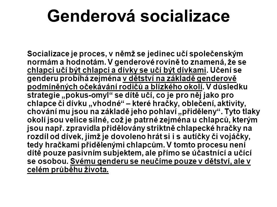 Genderová socializace Socializace je proces, v němž se jedinec učí společenským normám a hodnotám. V genderové rovině to znamená, že se chlapci učí bý