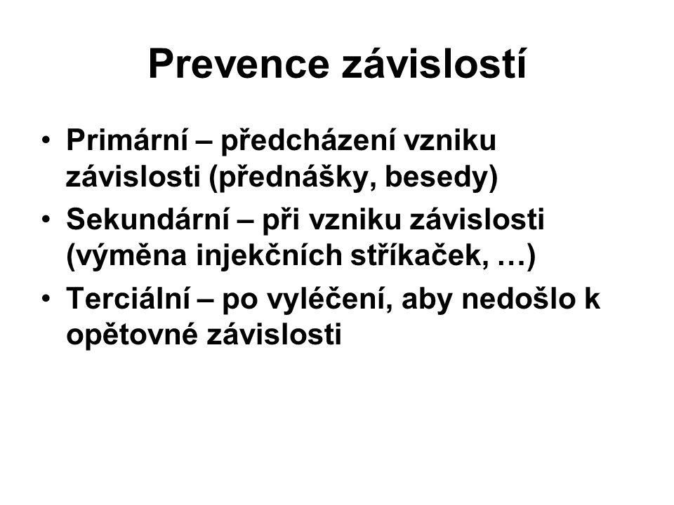 Prevence závislostí Primární – předcházení vzniku závislosti (přednášky, besedy) Sekundární – při vzniku závislosti (výměna injekčních stříkaček, …) Terciální – po vyléčení, aby nedošlo k opětovné závislosti