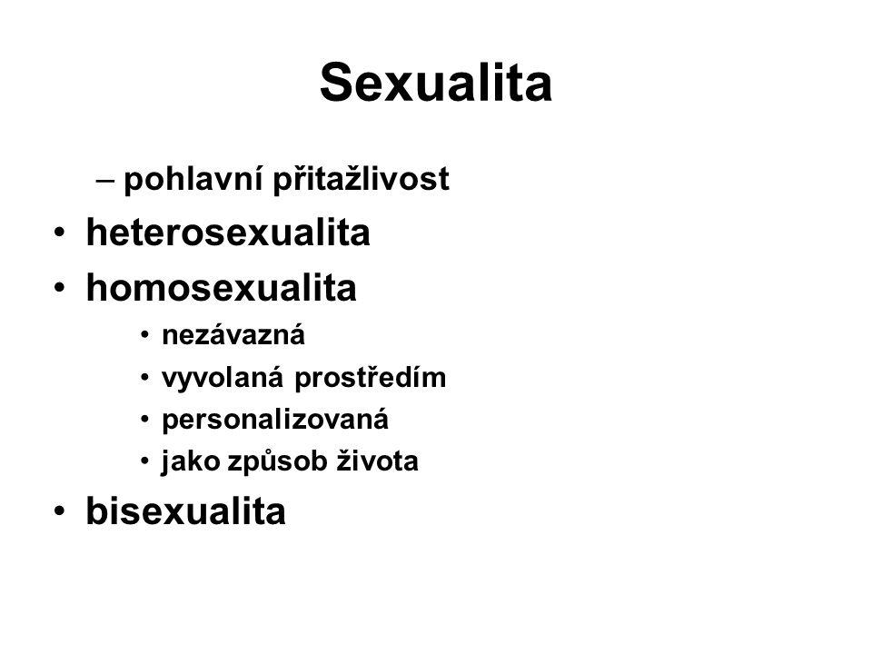 Sexualita –pohlavní přitažlivost heterosexualita homosexualita nezávazná vyvolaná prostředím personalizovaná jako způsob života bisexualita