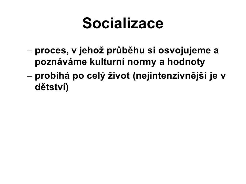 Socializace –proces, v jehož průběhu si osvojujeme a poznáváme kulturní normy a hodnoty –probíhá po celý život (nejintenzivnější je v dětství)