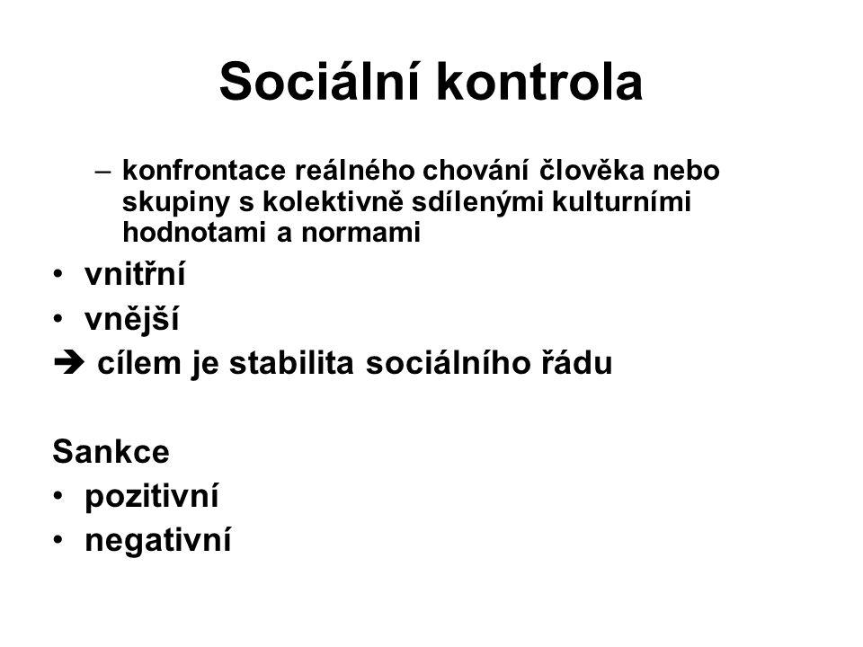 Sociální kontrola –konfrontace reálného chování člověka nebo skupiny s kolektivně sdílenými kulturními hodnotami a normami vnitřní vnější  cílem je stabilita sociálního řádu Sankce pozitivní negativní