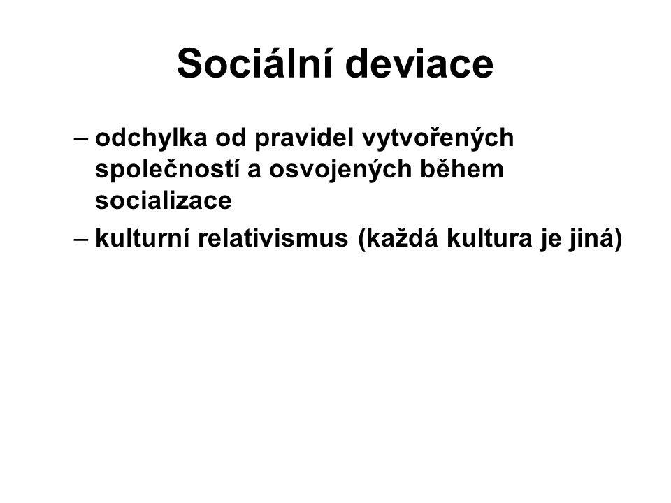 Sociální deviace –odchylka od pravidel vytvořených společností a osvojených během socializace –kulturní relativismus (každá kultura je jiná)