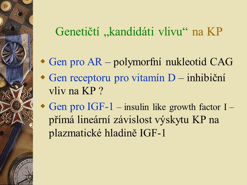 """Genetičtí """"kandidáti vlivu"""" na KP  Gen pro AR – polymorfní nukleotid CAG  Gen receptoru pro vitamín D – inhibiční vliv na KP ?  Gen pro IGF-1 – ins"""