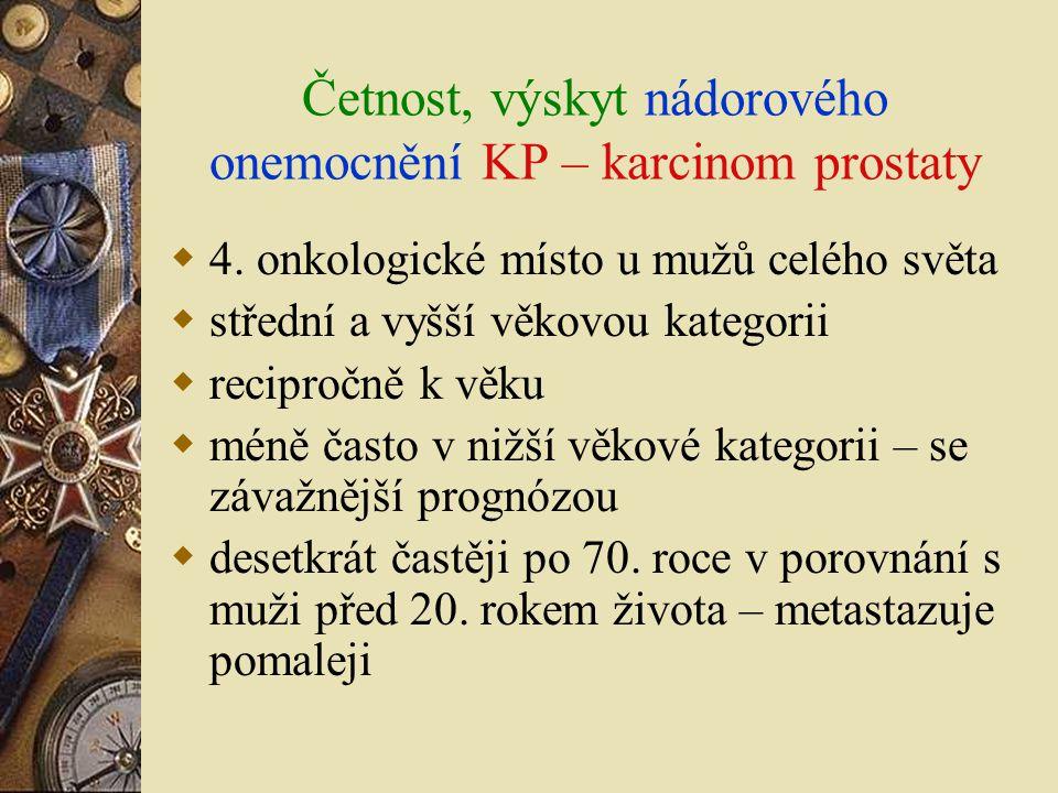 Četnost, výskyt nádorového onemocnění KP – karcinom prostaty  4. onkologické místo u mužů celého světa  střední a vyšší věkovou kategorii  reciproč