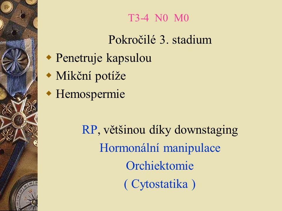 T3-4 N0 M0 Pokročilé 3. stadium  Penetruje kapsulou  Mikční potíže  Hemospermie RP, většinou díky downstaging Hormonální manipulace Orchiektomie (