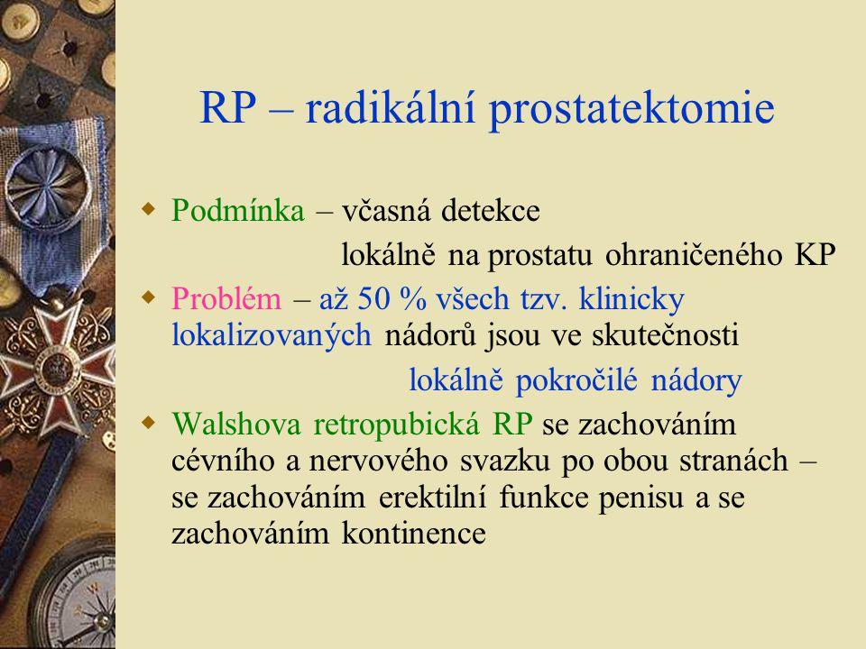 RP – radikální prostatektomie  Podmínka – včasná detekce lokálně na prostatu ohraničeného KP  Problém – až 50 % všech tzv. klinicky lokalizovaných n