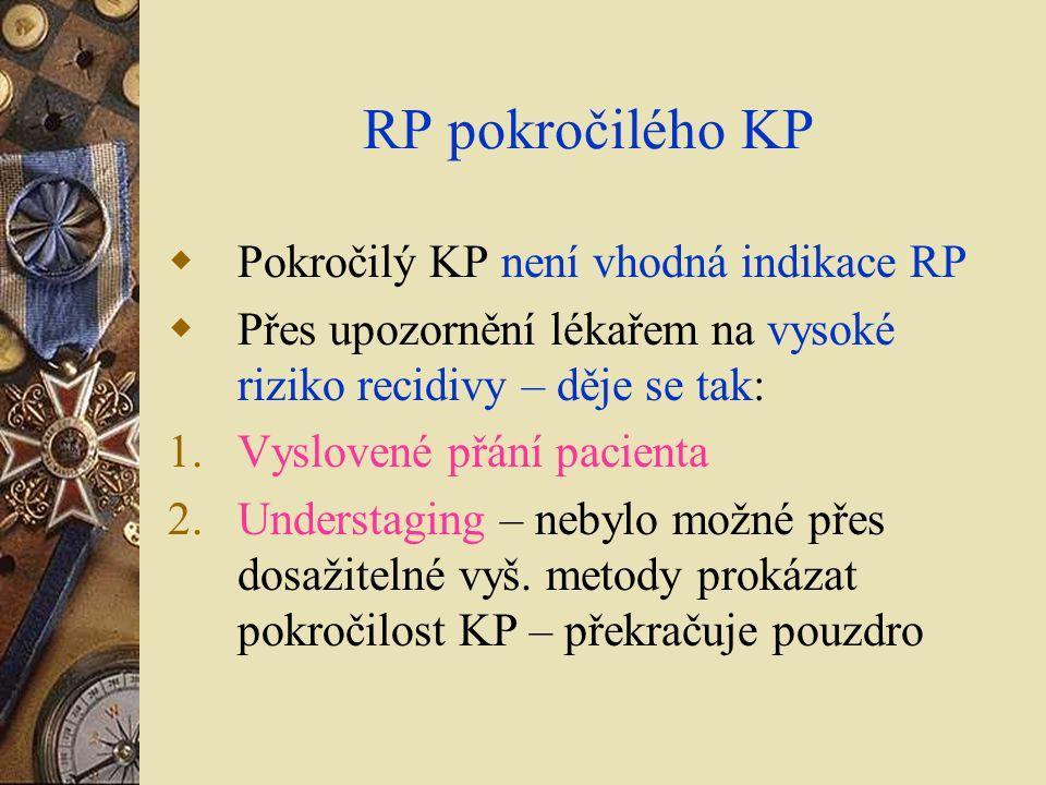 RP pokročilého KP  Pokročilý KP není vhodná indikace RP  Přes upozornění lékařem na vysoké riziko recidivy – děje se tak: 1.Vyslovené přání pacienta