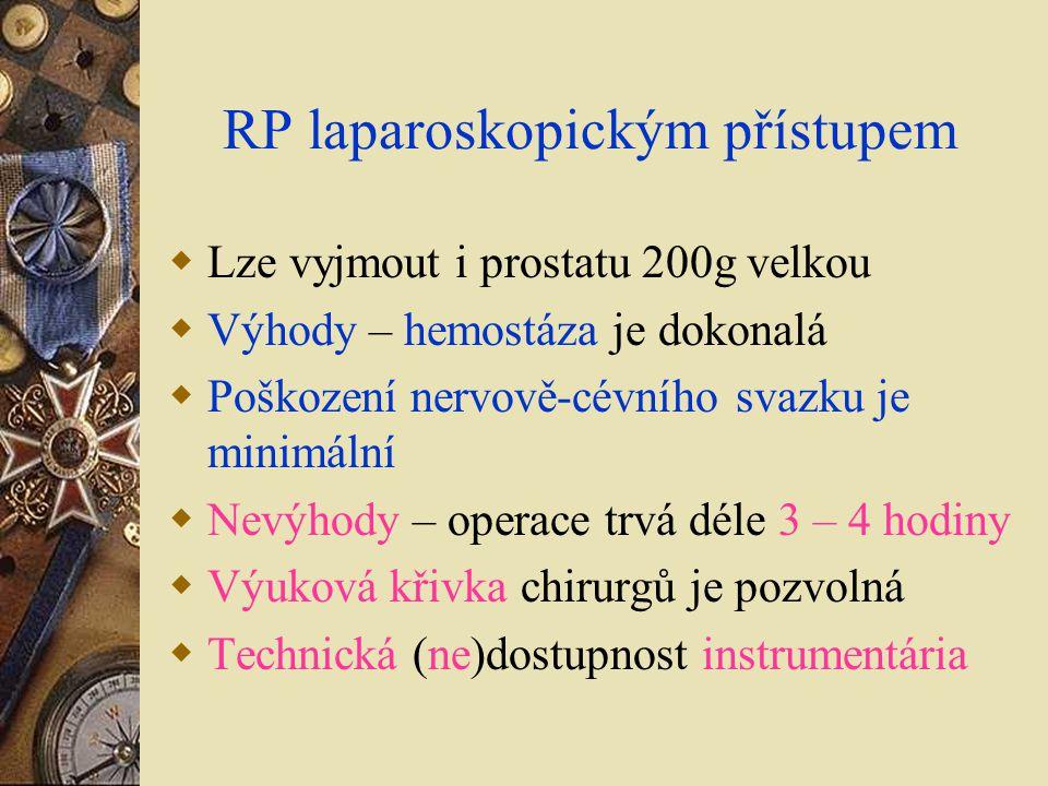 RP laparoskopickým přístupem  Lze vyjmout i prostatu 200g velkou  Výhody – hemostáza je dokonalá  Poškození nervově-cévního svazku je minimální  N