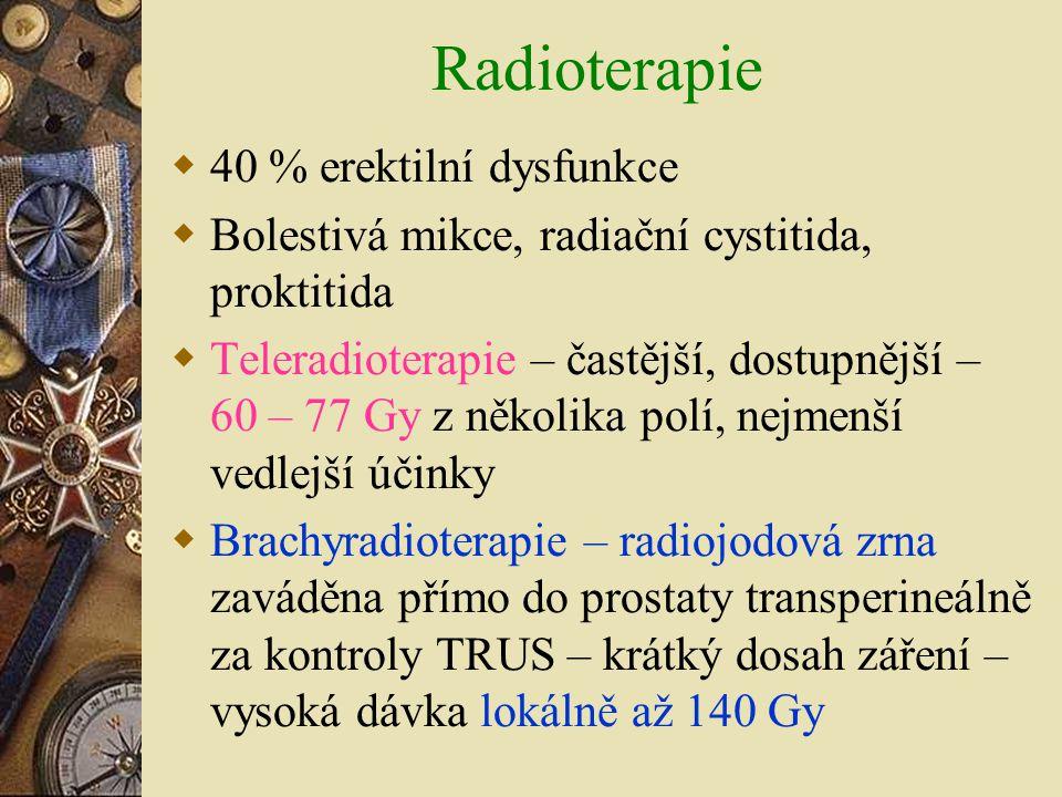 Radioterapie  40 % erektilní dysfunkce  Bolestivá mikce, radiační cystitida, proktitida  Teleradioterapie – častější, dostupnější – 60 – 77 Gy z ně