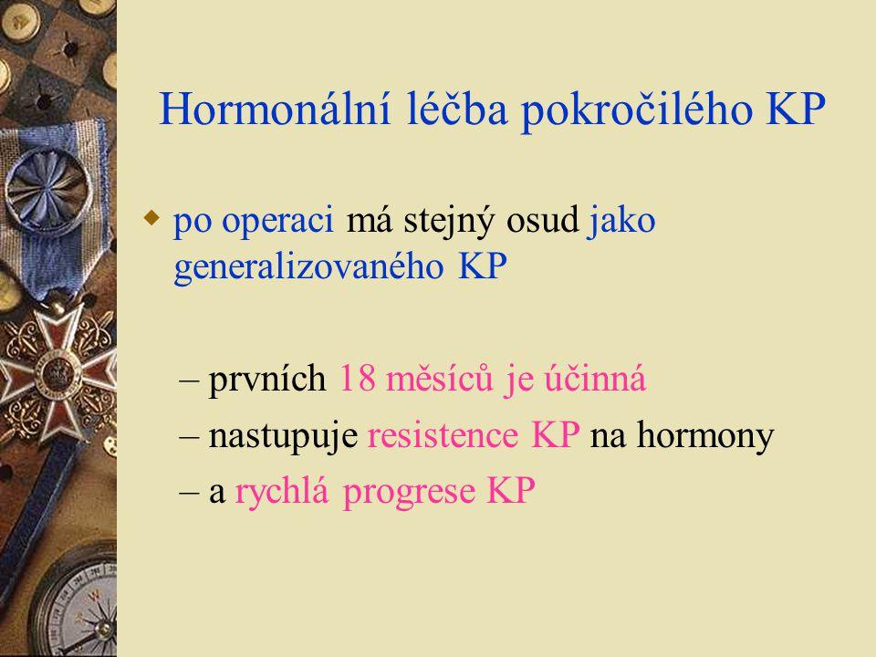 Hormonální léčba pokročilého KP  po operaci má stejný osud jako generalizovaného KP – prvních 18 měsíců je účinná – nastupuje resistence KP na hormon
