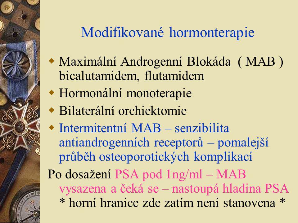Modifikované hormonterapie  Maximální Androgenní Blokáda ( MAB ) bicalutamidem, flutamidem  Hormonální monoterapie  Bilaterální orchiektomie  Inte