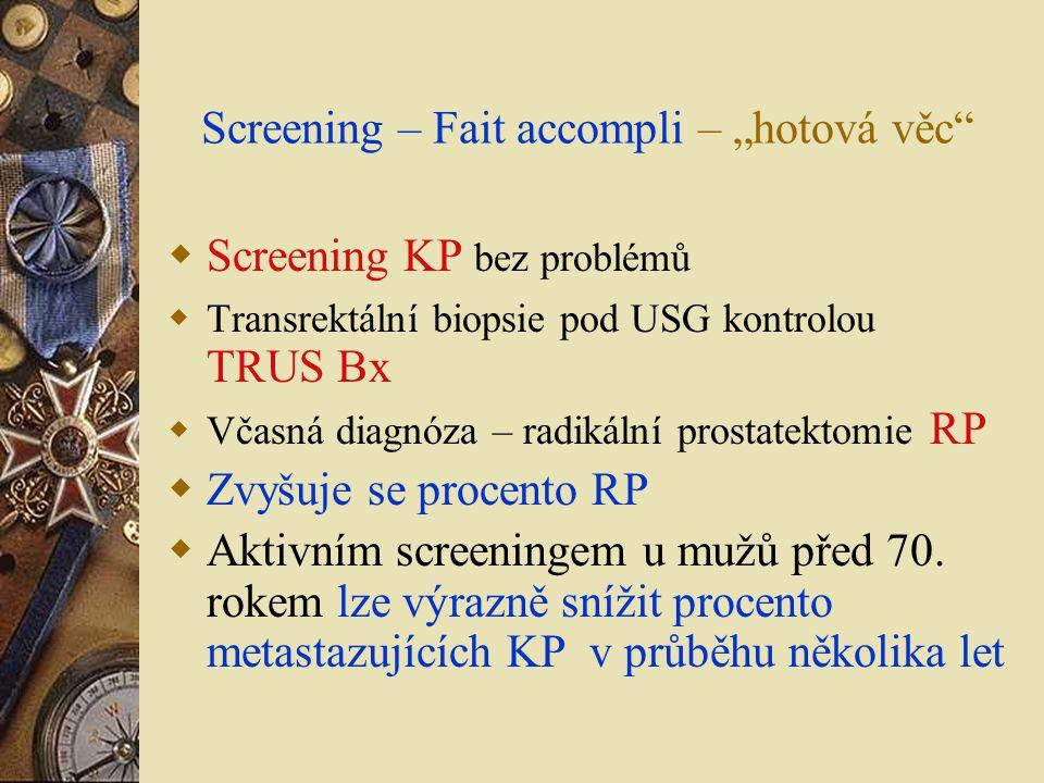 """Screening – Fait accompli – """"hotová věc""""  Screening KP bez problémů  Transrektální biopsie pod USG kontrolou TRUS Bx  Včasná diagnóza – radikální p"""