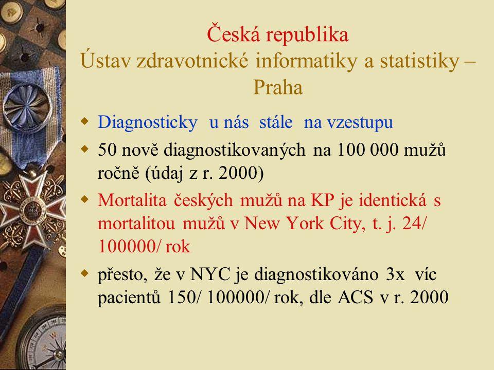 Česká republika Ústav zdravotnické informatiky a statistiky – Praha  Diagnosticky u nás stále na vzestupu  50 nově diagnostikovaných na 100 000 mužů