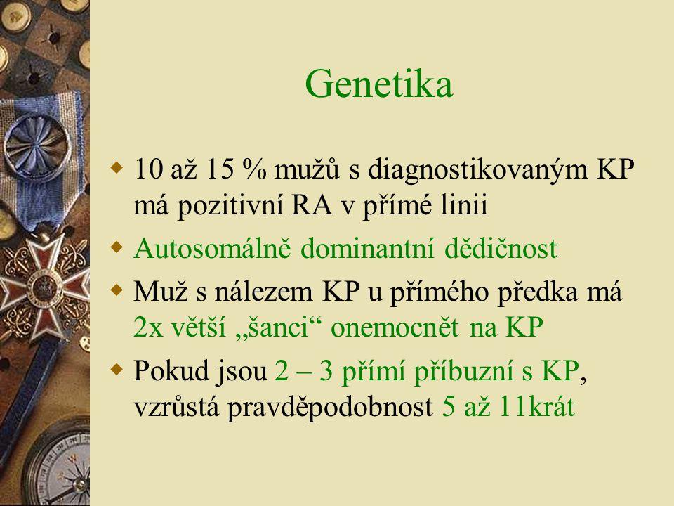 Genetika  10 až 15 % mužů s diagnostikovaným KP má pozitivní RA v přímé linii  Autosomálně dominantní dědičnost  Muž s nálezem KP u přímého předka