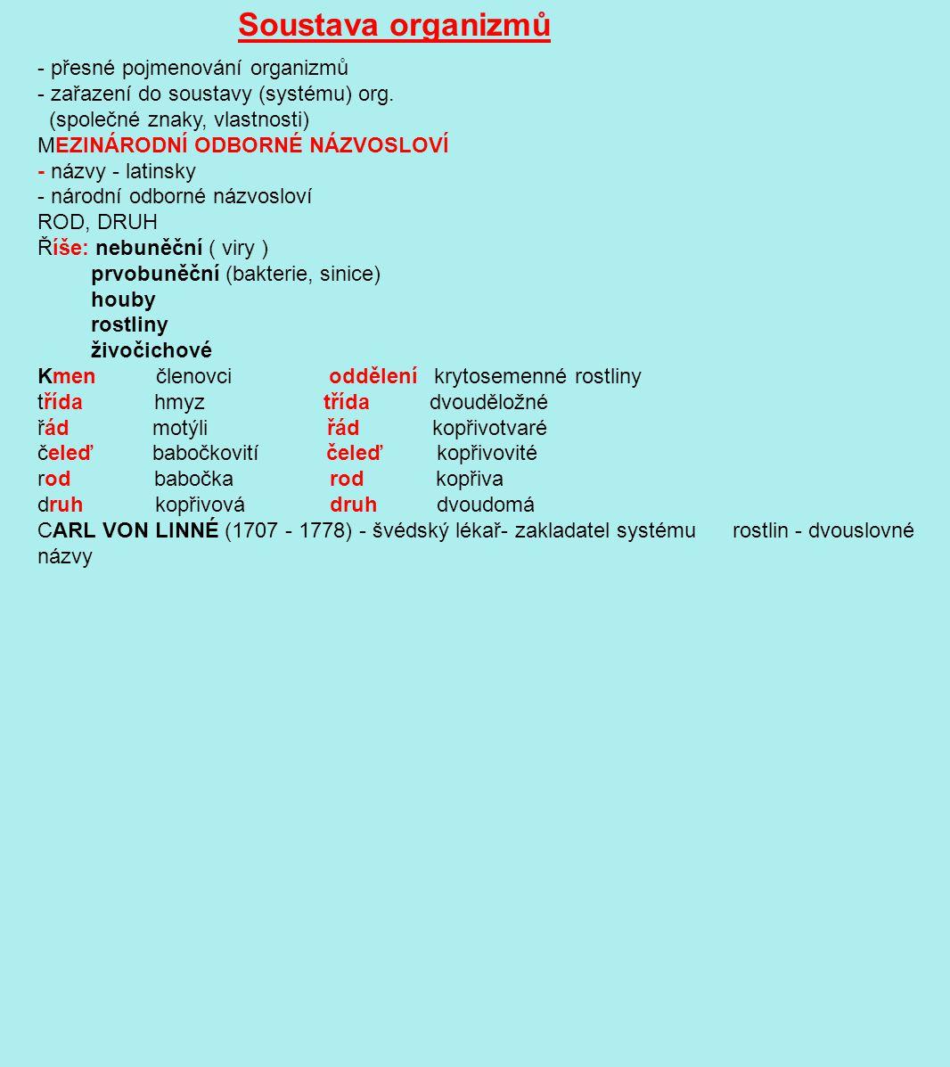 Soustava organizmů - přesné pojmenování organizmů - zařazení do soustavy (systému) org. (společné znaky, vlastnosti) MEZINÁRODNÍ ODBORNÉ NÁZVOSLOVÍ -