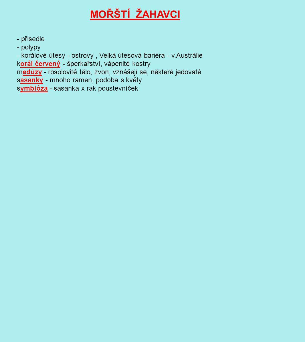 MOŘŠTÍ ŽAHAVCI - přisedle - polypy - korálové útesy - ostrovy, Velká útesová bariéra - v.Austrálie korál červený - šperkařství, vápenité kostry medúzy