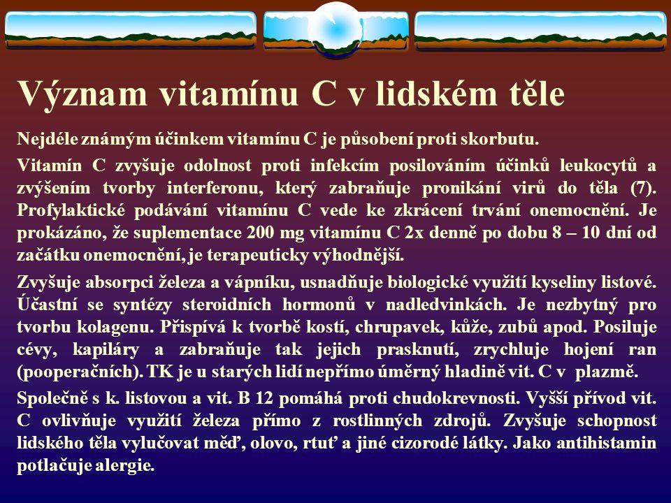 Význam vitamínu C v lidském těle Nejdéle známým účinkem vitamínu C je působení proti skorbutu.