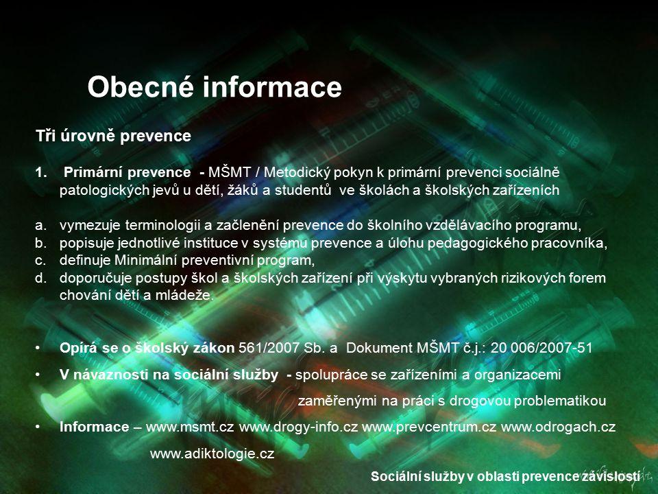 Sociální služby v oblasti prevence závislostí Obecné informace Tři úrovně prevence 2.