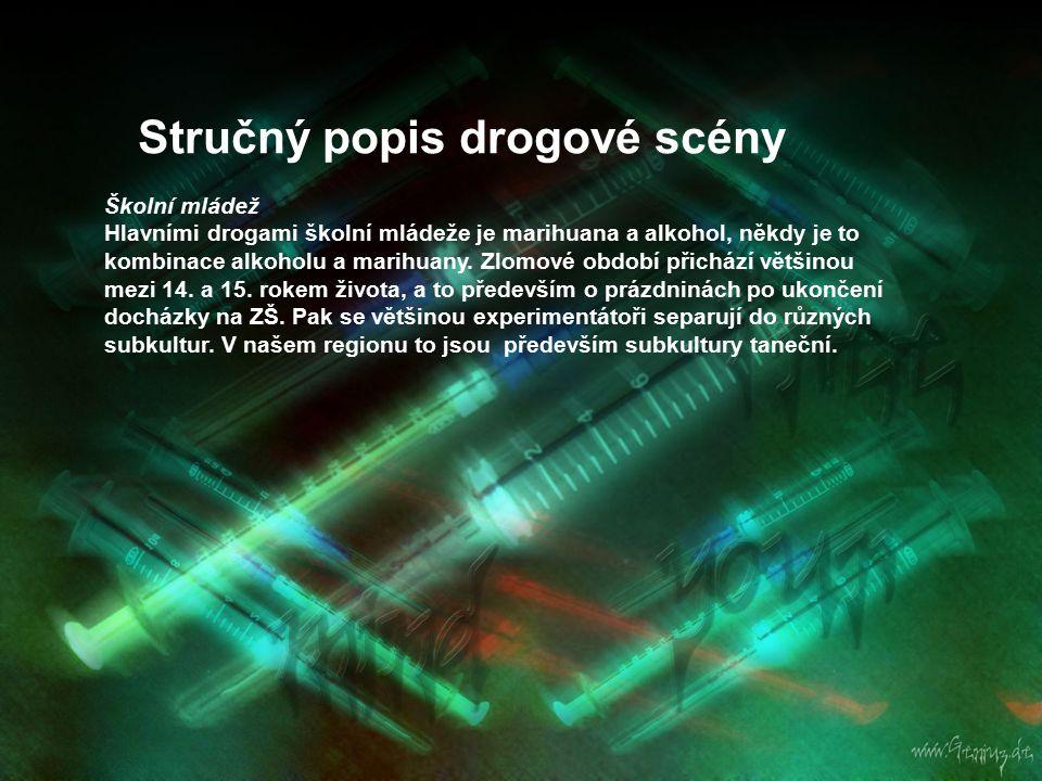 Stručný popis drogové scény Taneční subkultury Techno párty Uživatelé tanečních drog tento druh subkultury dále dělí na komerční a nekomerční párty (často nelegální, tzv.