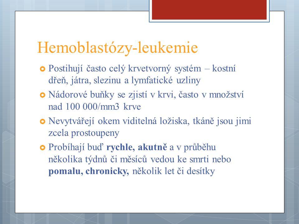 Hemoblastózy - leukemie  Podle průběhu dělíme leukemie na akutní či chronické  podle histogeneze na myeloidní, myelogenní, lymfocytové, lymfoblastické atd.