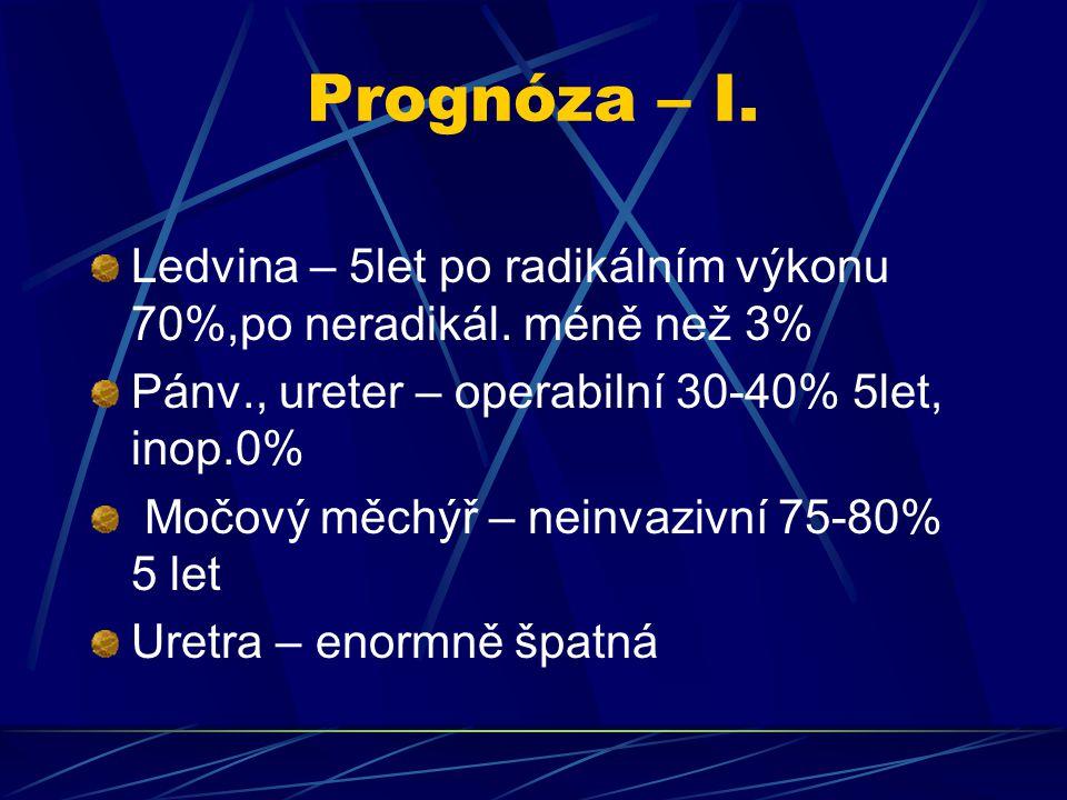 Prognóza – I. Ledvina – 5let po radikálním výkonu 70%,po neradikál. méně než 3% Pánv., ureter – operabilní 30-40% 5let, inop.0% Močový měchýř – neinva
