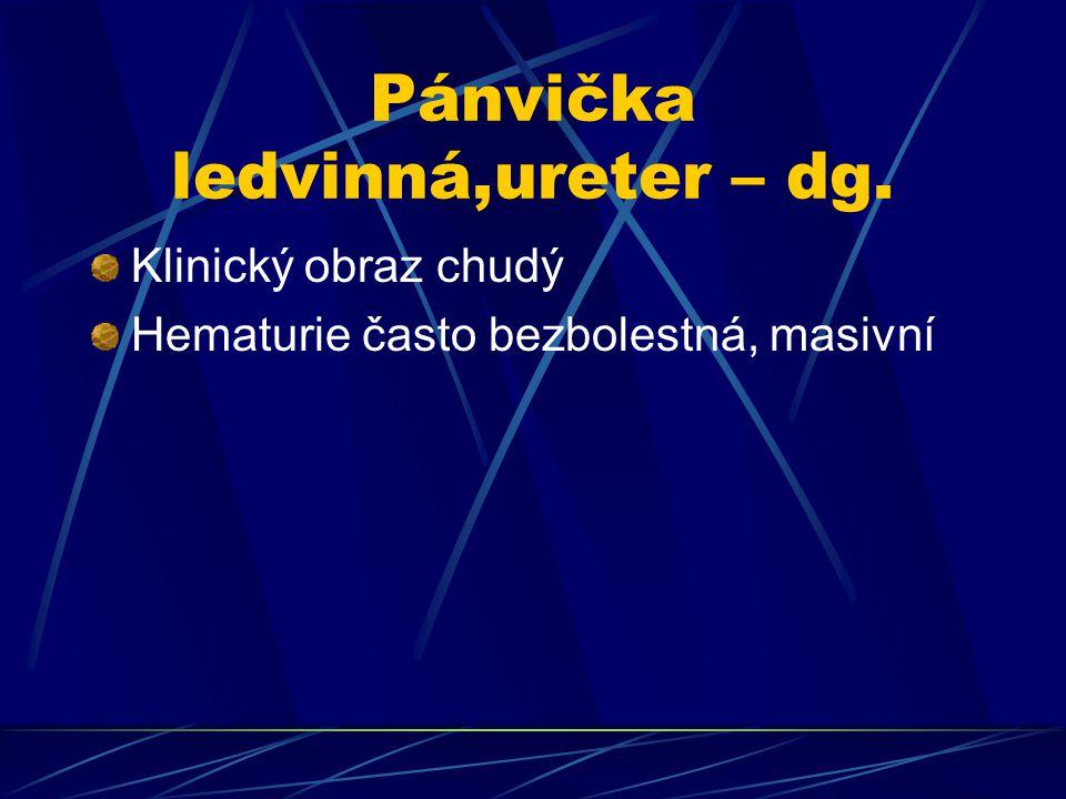 Pánvička ledvinná,ureter – dg. Klinický obraz chudý Hematurie často bezbolestná, masivní