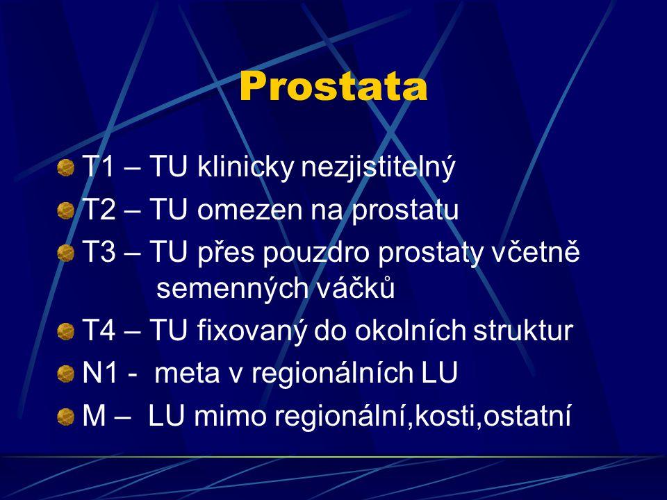 Prostata T1 – TU klinicky nezjistitelný T2 – TU omezen na prostatu T3 – TU přes pouzdro prostaty včetně semenných váčků T4 – TU fixovaný do okolních s