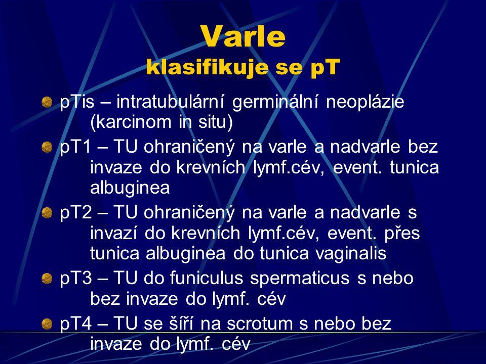 Varle klasifikuje se pT pTis – intratubulární germinální neoplázie (karcinom in situ) pT1 – TU ohraničený na varle a nadvarle bez invaze do krevních l