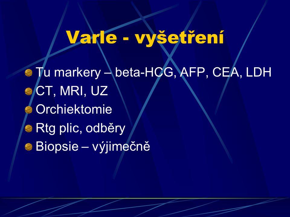 Varle - vyšetření Tu markery – beta-HCG, AFP, CEA, LDH CT, MRI, UZ Orchiektomie Rtg plic, odběry Biopsie – výjimečně