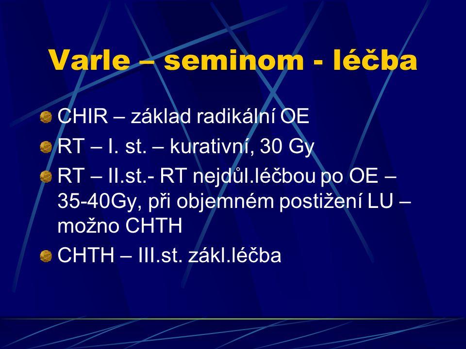 Varle – seminom - léčba CHIR – základ radikální OE RT – I. st. – kurativní, 30 Gy RT – II.st.- RT nejdůl.léčbou po OE – 35-40Gy, při objemném postižen