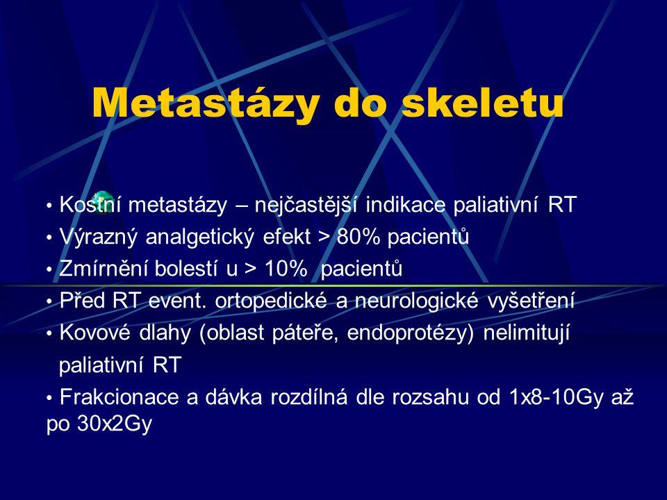 Kostní metastázy – nejčastější indikace paliativní RT Výrazný analgetický efekt > 80% pacientů Zmírnění bolestí u > 10% pacientů Před RT event. ortope