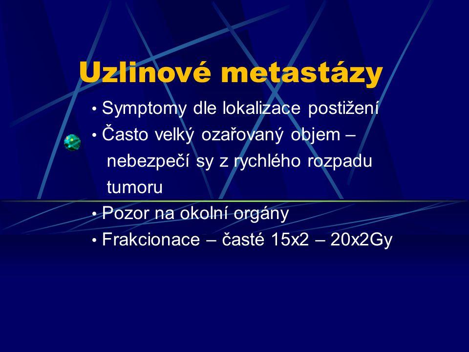 Symptomy dle lokalizace postižení Často velký ozařovaný objem – nebezpečí sy z rychlého rozpadu tumoru Pozor na okolní orgány Frakcionace – časté 15x2