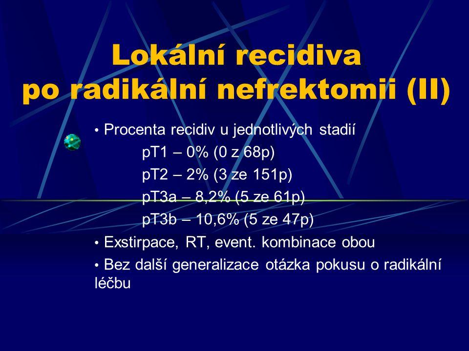 Procenta recidiv u jednotlivých stadií pT1 – 0% (0 z 68p) pT2 – 2% (3 ze 151p) pT3a – 8,2% (5 ze 61p) pT3b – 10,6% (5 ze 47p) Exstirpace, RT, event. k
